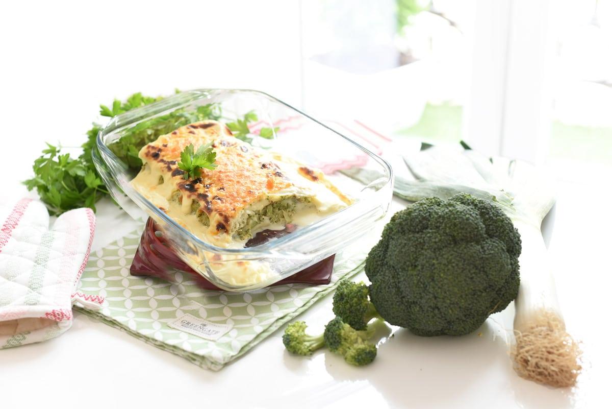 Canelones de brócoli y puerro